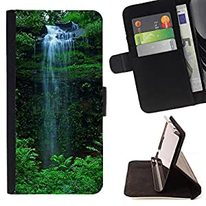 DEVIL CASE - FOR HTC One M8 - Waterfall Green - Style PU Leather Case Wallet Flip Stand Flap Closure Cover