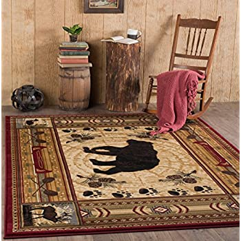 Universal Rugs Lodge Novelty 5 Ft. 3 In. X 7 Ft. 3 In. Area Rug , Brown