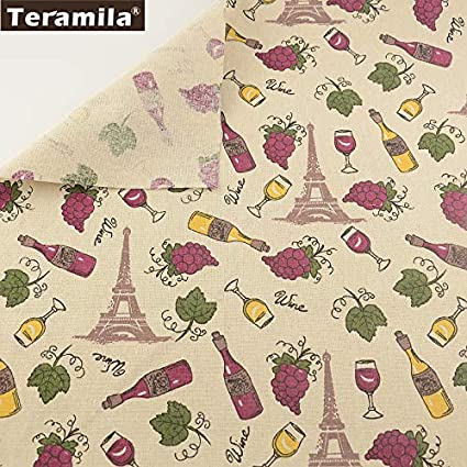Amazon.com: Tela de lino de algodón estampado de vino y uva ...