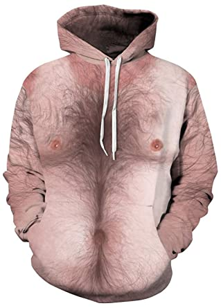 bcde4c061e8b Leapparel Ugly Sweaters Unisex Hoodie Chest Hair 3D Graphic Print Long  Sleeve Hooded Pullover Sweatshirt Jumper