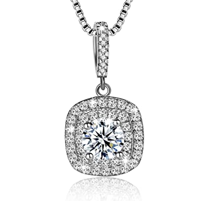 Women Necklace Fashion 925 Sterling Silver Beautiful Crystals Cubic Zirconia Pendant Necklace Jewellery Gift wuNfdT