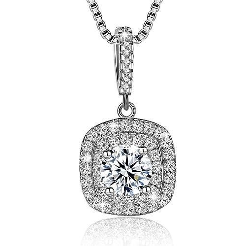 cd8e8ff8ba9c Collar Mujer Plata de Ley 925 Brillante Cristal Colgante Collares joyería  regalo  Amazon.es  Joyería