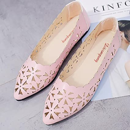 Chercher M Women Flats Shoes Shallow Flat Heel Hollow Out Flower Shape Nude Shoes Pointed-Toe