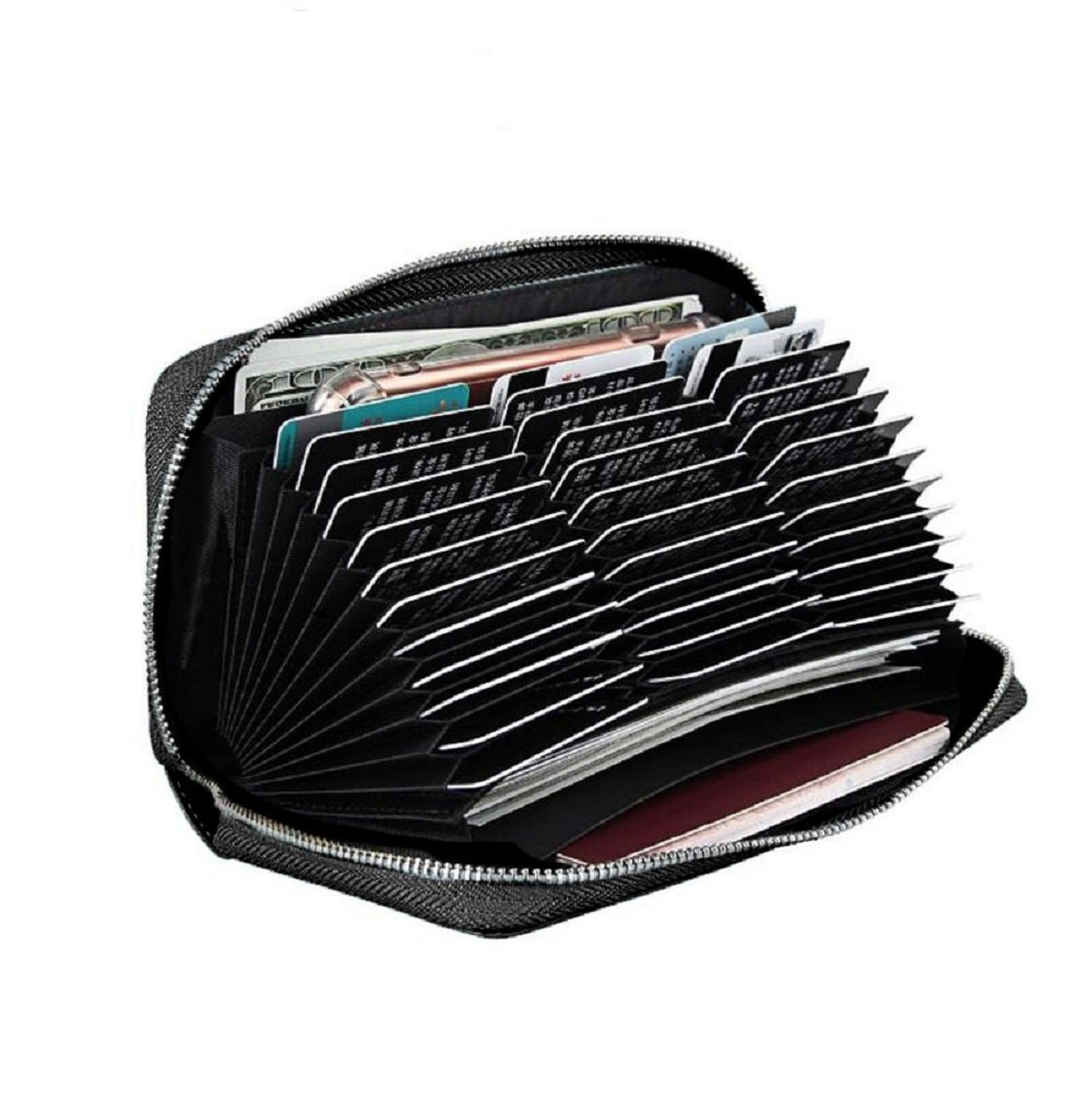 Rfid Protection Wallet Case With 36 Plastic Credit Card Slots RFD-RFDI Safe (Black)