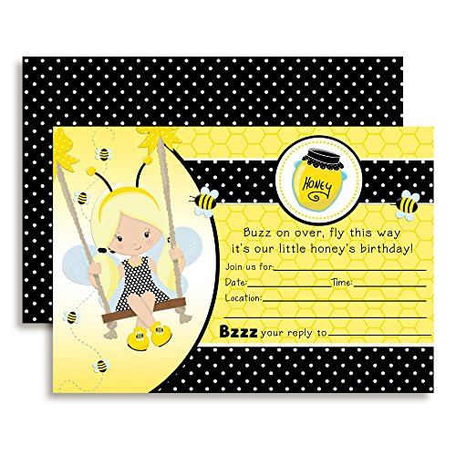 Bumble Bee Girl Birthday Party Invitations, 20 5