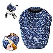 Sonsi - Premium Nursing/Breastfeeding Covers | Combo Baby Car Seat Canopy, Infinity Scarf, Stretchy Shopping Cart and Stroller Cover | Best Shower Gifts for Baby Girls and Boys