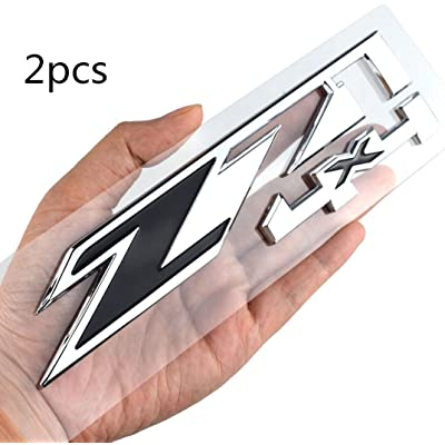 2 Pack Z71 4x4 Emblems Badges Compatible for GMC Chevy Silverado Sierra Tahoe Suburban 1500 2500hd 3500hd Decal (Chrome/Black): Automotive