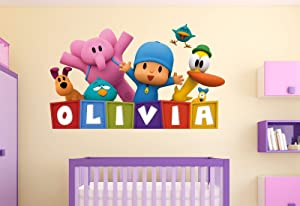 """Pocoyo Customize Name 3D Wall Decal Kids Sticker Decor Vinyl Girl/Boy Mural (Small Size: Wide 20"""" x 14"""" Height)"""