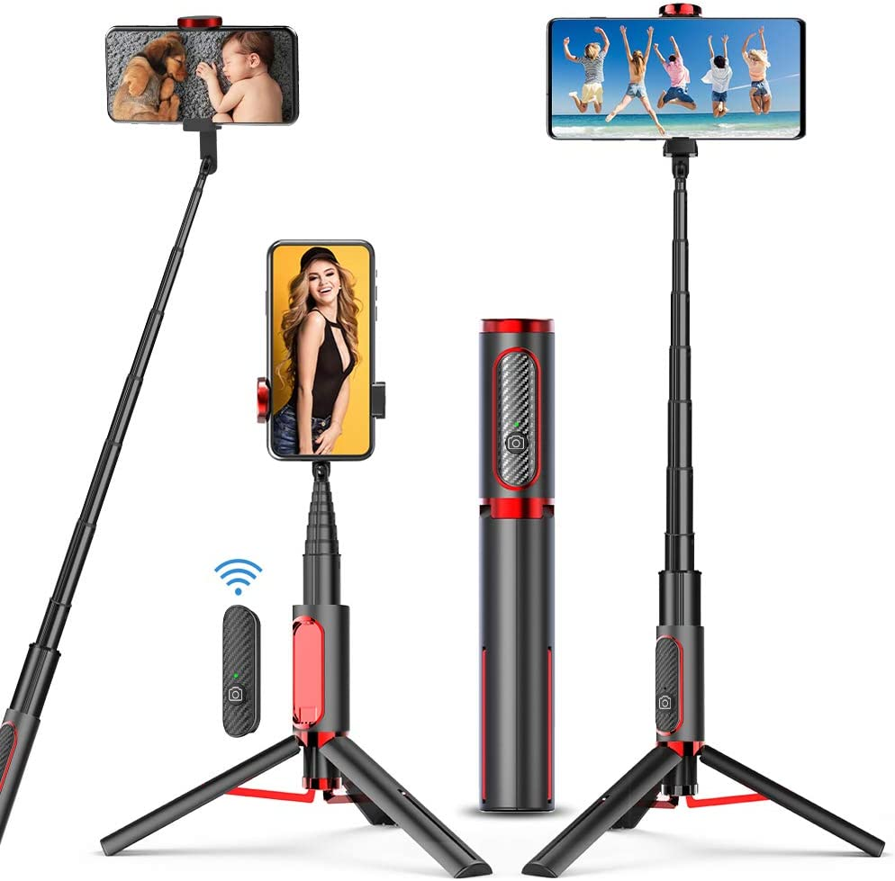 Selfie Stick Phone Tripod,Tripod for iPhone - VINSIC All in One Extendable Cellphone Tripod Stand with Bluetooth Remote for Android Phones & iPhone 11 Xs Plus 6/7/8 Lightweight for Home & Travel
