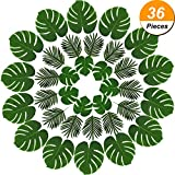 Hicarer 36 Pieces 2 Kinds Artificial Palm Leaves Faux Palm Tree Leaf Fake Monstera Tropical Leaves for Decoration, Green
