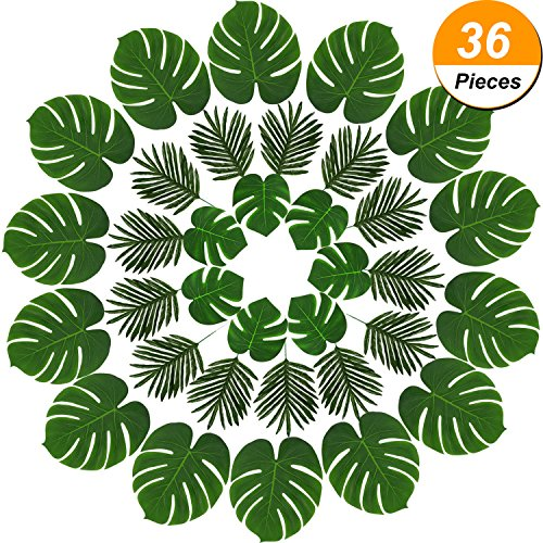 Hicarer 36 Pieces 2 Kinds Artificial Palm Leaves Faux Palm Tree Leaf Fake Monstera Tropical Leaves for Decoration, Green (Fake Small Palm Tree)
