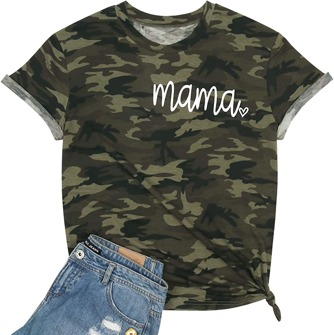 Camouflage Shirts for Women Mama Letter Printed T-Shirt Heart Graphic Casual Short Sleeve Tee Tops