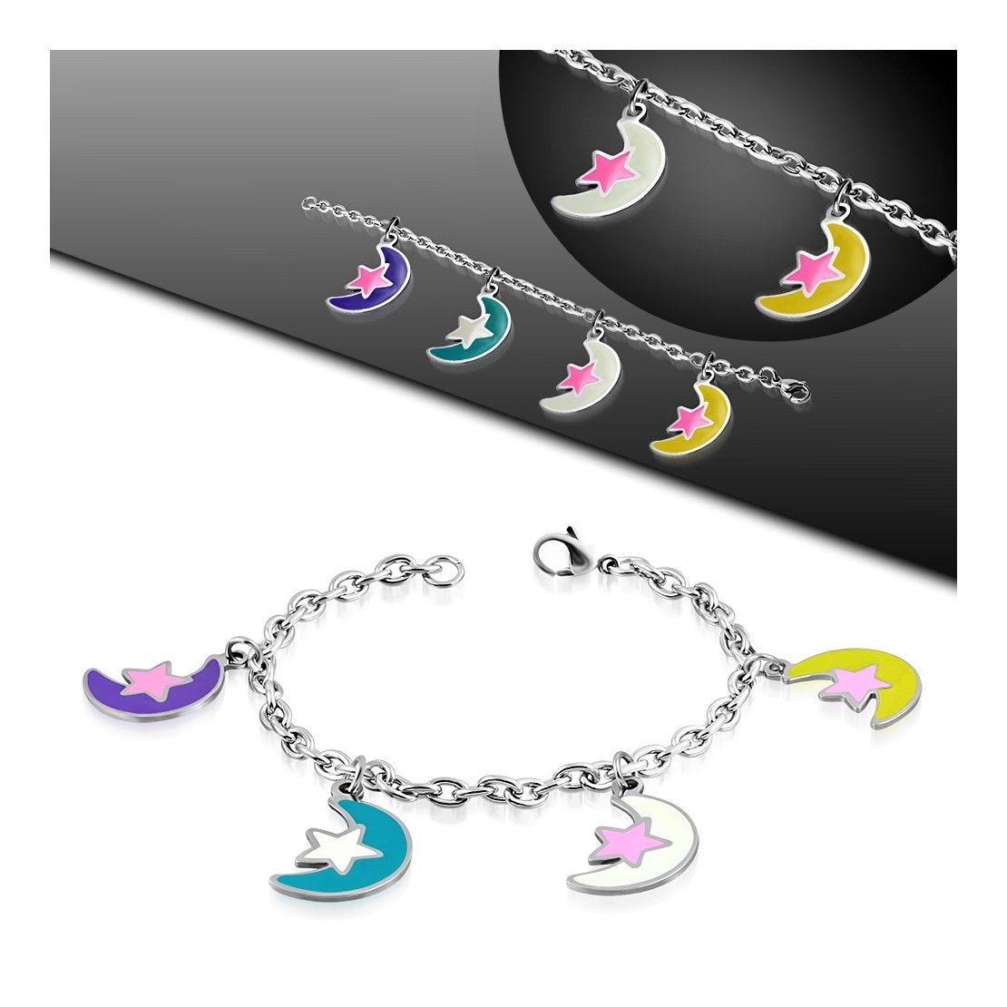 Stainless Steel Enameled Colorful Half-Moon Crescent Charm Link Chain Bracelet// Anklet