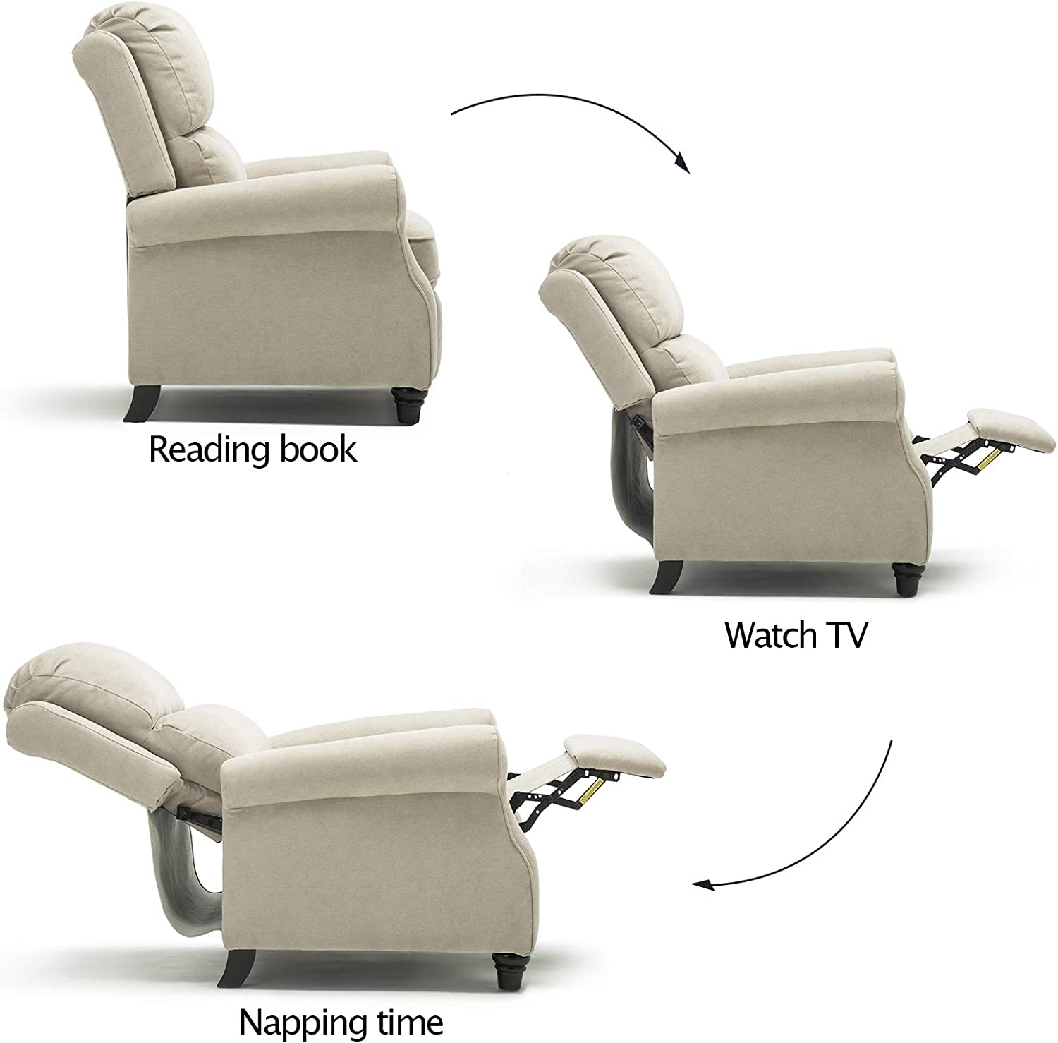 ANJ Push Back Recliner Chair with Elegant Roll Arm for Living Room, Thickness Cushion Sofa Home Theater Seating (Buff White)