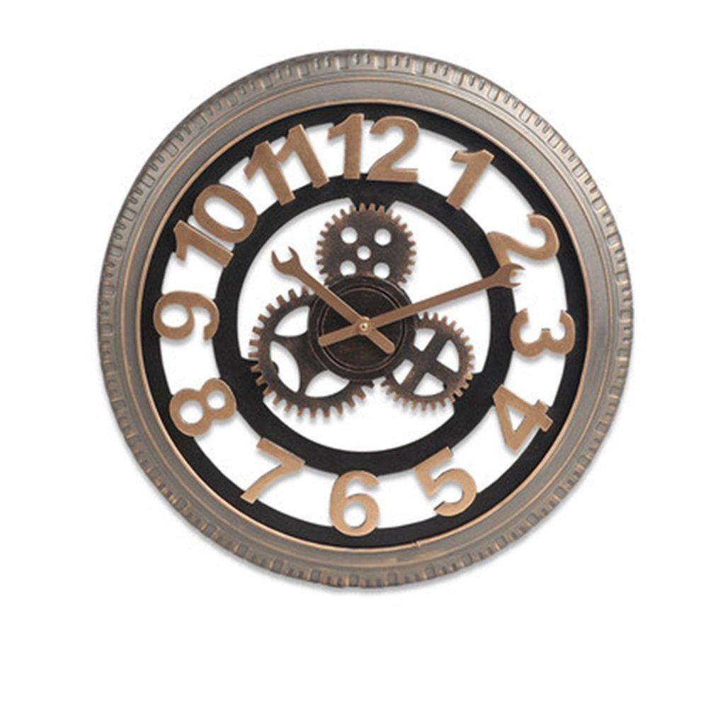 壁時計 LOFTバーウォールクロッククリエイティブレトロインダストリアルウィンドギアウォールデコレーションクロックインダストリアルウィンドローマ数字ウォールマウントクロック (サイズ さいず : 51センチメートル) B07DVGX7M651センチメートル