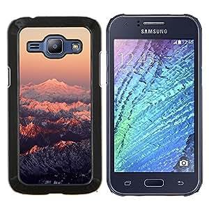KLONGSHOP // Cubierta de piel con cierre a presión Shell trasero duro de goma Protección Caso - Montaña Nevada Sunset - Samsung Galaxy J1 J100 //