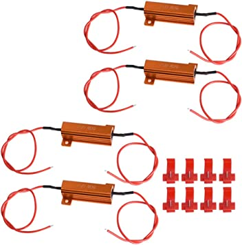 LABLT 50W 6ohm Load Resistors LED Resistor for Turn Signal 3157/7443/1157 - Fix LED Bulb Fast Hyper Flash Turn Signal Blink and Error Message Pack of 4 (Resistors get very hot during working)