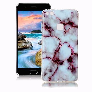 Yunbaoz Funda Compatible para Huawei P10 Lite Mármol, Diseño Mármol Carcasa Suave Goma Silicona Soft Marble Case Suitable for Huawei P10 Lite - Rojo ...