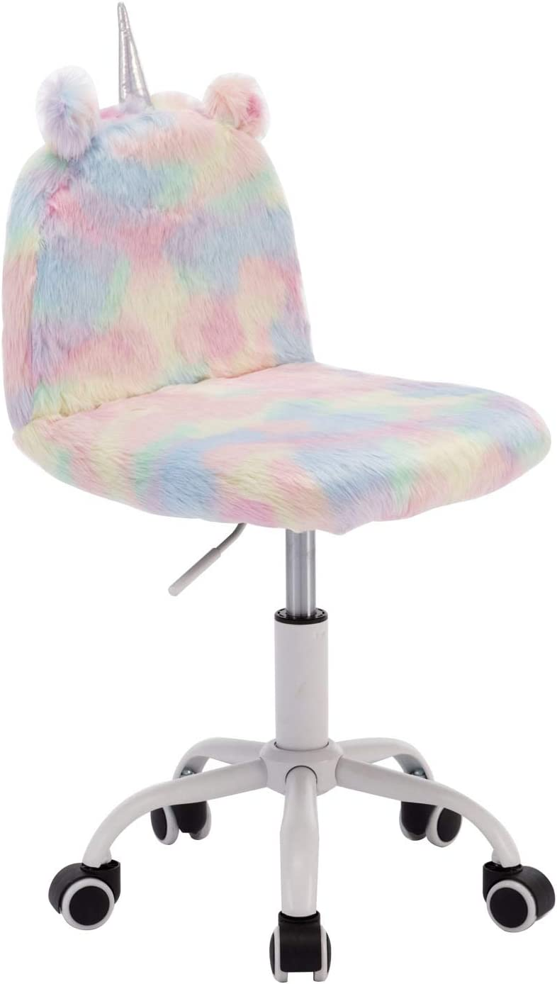 Wahson Children S Study Desk Chair Colorful Faux Fur Soft Fluffy Swivel Chair Adjustable Height Computer Chair For Kids Amazon Co Uk Kitchen Home
