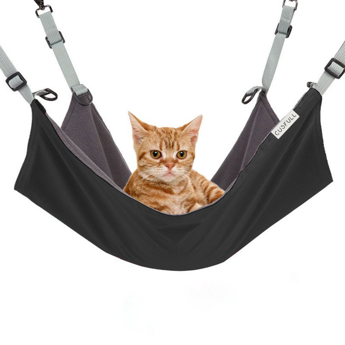 Cusfull Cat Hammock Bed Comfortable Hanging Pet Hammock Bed for Cats Small Dogs Rabbits Other Small Animals 22 x 17 in (Black)