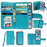 Case and 9H Tempered Glass Screen Protector for iPhone 6/6s Plus, xhorizon TM SR Premium PU Leather 2-in-1 Magnetic Detachable Multiple Card Slots Wallet Flip Case Cover with Wrist Strap for iPhone 6/6s Plus (5.5 inch) - Blue