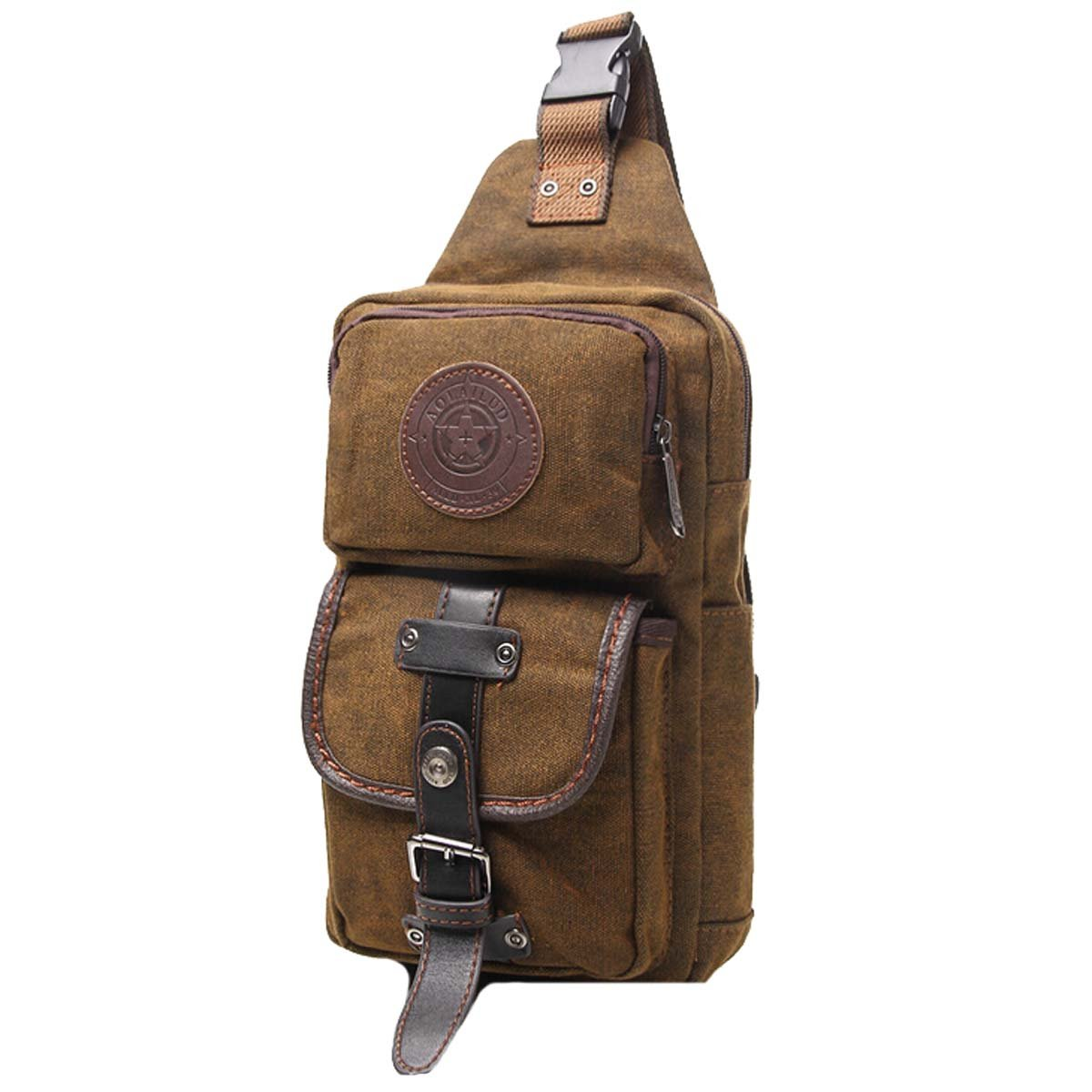 Win8Fong Men s Pro Canvas Triangle Bag Chest Bag Backpack Cross Body Bags Satchel Shoulder Bag