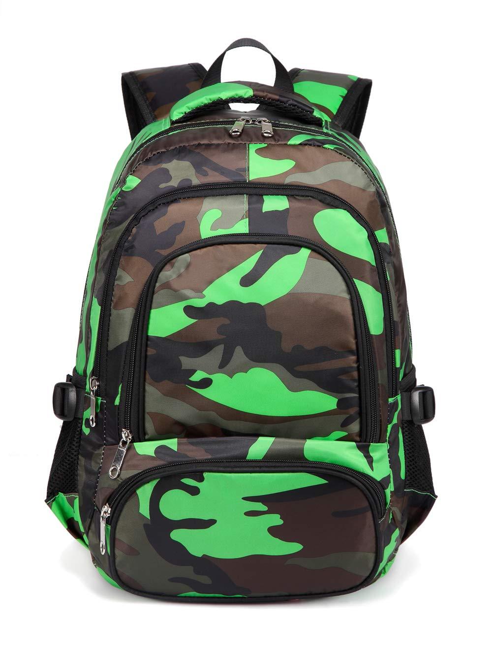 Camo Orange Kids Backpacks for Boys Camouflage Elementary School Bags Bookbags Lightweight Durable