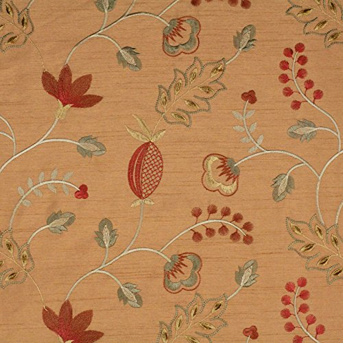 Tiger Lily Brown Green Red Floral Embroidery Upholstery Fabric by The Yard (Lily Tiger Drapes)