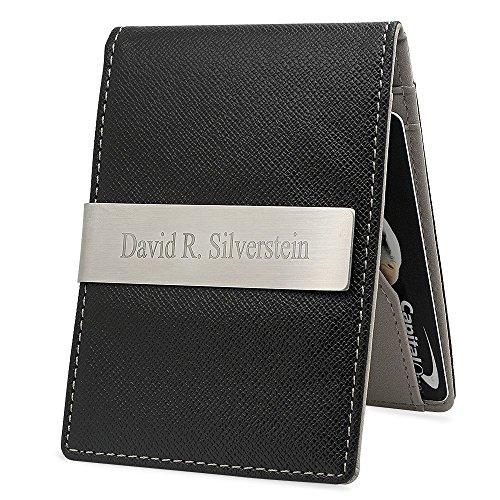 Free Engraving   Quality Mens Slim Money Clip Wallet Card Holder