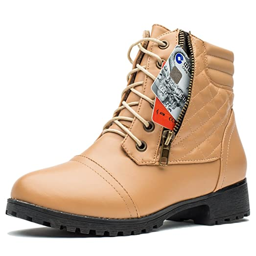Women Military Combat Ankle Boots Lace up Side Zippers Winter Boots with Credit Card Pocket