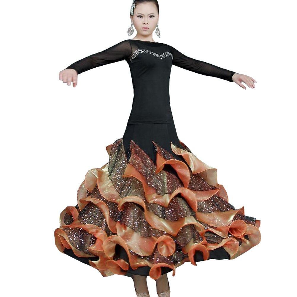 社交ダンス 衣装 レディース 大きい裾 ダンス スカート ロング スカート 女性用 フレア袖 トップス インターナショナルダンス スタンダードドレス 社交ダンス 練習着 上下 タンゴ服 ワルツ ダンス衣装 モダンダンス 競技着 演出用 B07C4G7DYP Small|オレンジ オレンジ Small