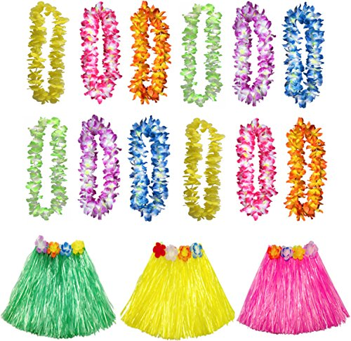 Luau Party Supplies, Tropical Hawaiian Luau Flower Leis Silk Faux Flowers Hula Grass Skirts Party Favors (15 Count)