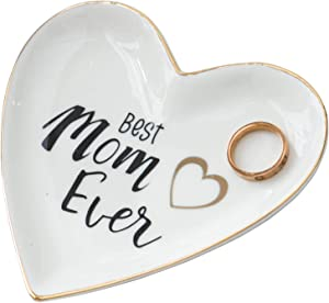 Kimdio Ring Dish Jewelry Holder Heart Shape I Love Mom Trinket Tray Ceramic Plate Best Mom Ever Jewelry Organizer Home Decor Dish for Birthday Wedding Mother's Day Christmas etc.