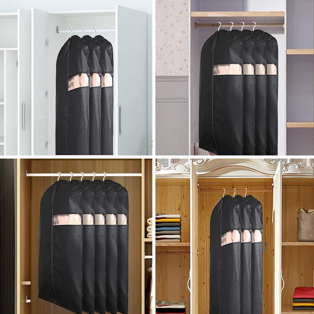 HOMMINI Pack of 6 Garment Bags, Full Clear Hanging Zipper Suit Bags, Storage or Travel Clothes Cover, Lightweight Dust Cover 2 Sets of 60'' 26'' and 4 Sets of 42'' 24''