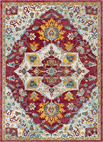 Well Woven Hannah Red Vintage Medallion Design Area Rug 4x6 (3