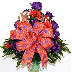Clemson Tigers Fan Cemetery Vase Arrangement 1