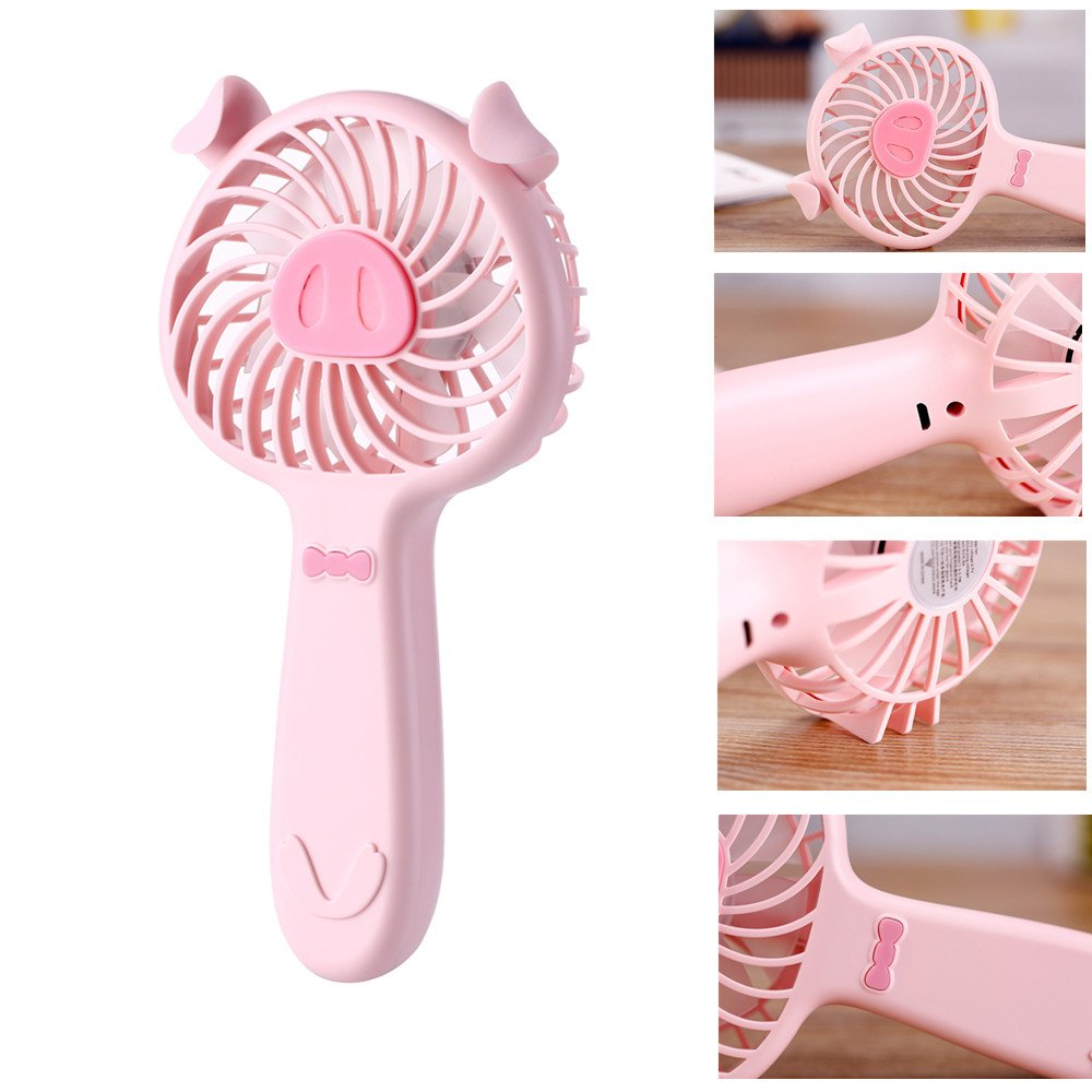 INorton Handhold Mini USB Fan, Portable Rechargeable Lovely Pig Noiseless Fan with 3 Speed Mode,Suit for Office,School and Outdoor Travals
