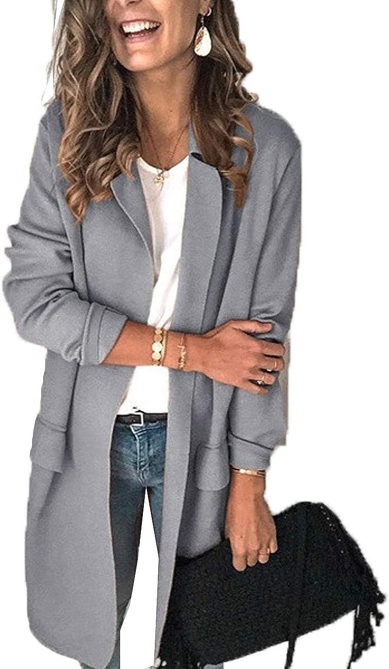 Donne Casuale Blazers Scolato Apri Fronte Manica Lunga Solido Lavoro Esterno Distintivo Giacche