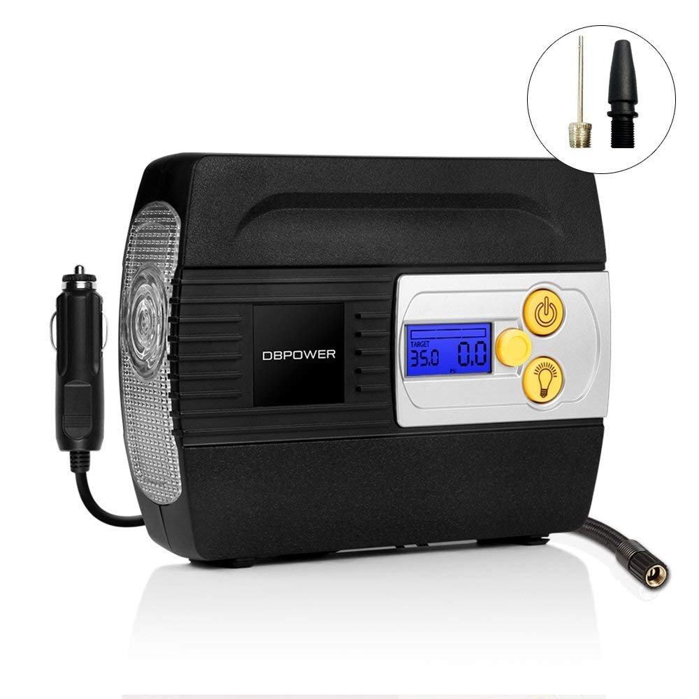 DBPOWER 12V DC Tire Inflator with Digital LCD Display and LED Lights, Portable Air Compressor Pump for Cars, Bikes and Inflatables