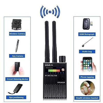 Ultra-sensitive RF Signal Detector, Hidden Device Detector Full Range Wireless Anti-Spy Bug Detector GSM GPS Tracker Device Finder Detector Audio Bug Detect Hidden Camera with LED flashing G318A Black: Home Improvement