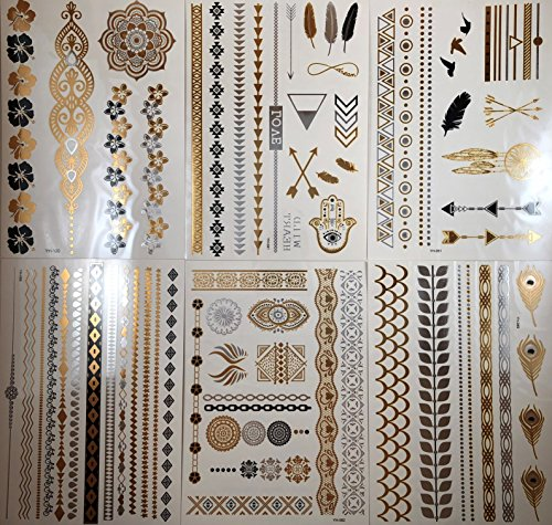 Temporary Metallic Tattoos 100+ Temporary Tattoos in Gold, Silver, Black Mandala, Mehndi, Hamsa, Flowers, Hearts, Arrows, Feathers, Bracelets, Wrist & Arm Band designs - Coachella (6 sheets)