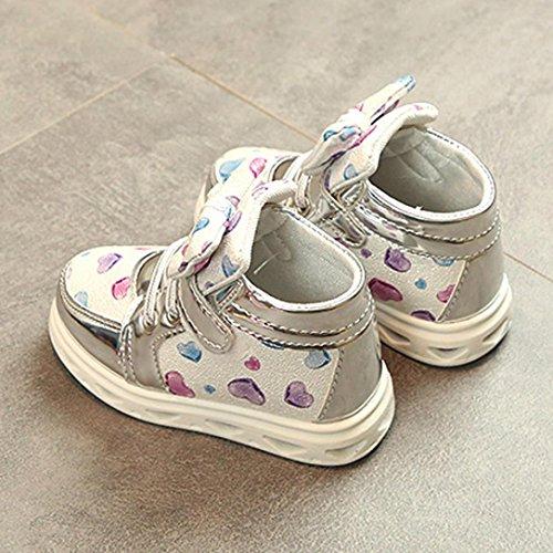 Huhu833 Kinder Schuhe Kleinkind Baby Mode Turnschuh Herz Leuchtendes Kind LED Zufällige Bunte Schuhe Silber