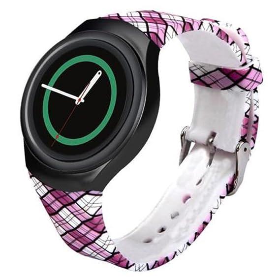 For Samsung Gear S2 Watch Band - Soft Silicone Sport Replacement Band for Samsung Gear S2 Smart Watch SM-R720 SM-R730 Version Plaid