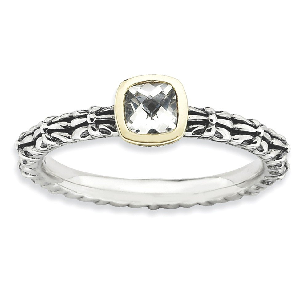 Top 10 Jewelry Gift Sterling Silver & 14k Stackable Expressions Checker-cut White Topaz Ring