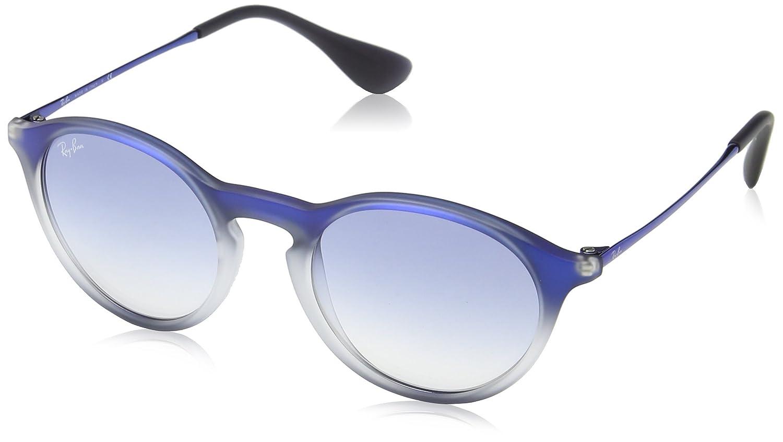 Ray-Ban Unisex Sonnenbrille RB4243, Mehrfarbig (Gestell: Blau, Gläser: Transparent Leicht Blauer Verlauf 622519), Medium (Herstellergröße: 49)