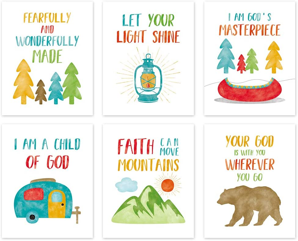 """Colorful Bible Verse Canvas Posters ,Kids Inspirational Quotes Wall Art Set of 6(8""""X10"""", Unframed),Woodland Animals Art Print For Children' s Classroom,Playroom Sunday School Decor"""