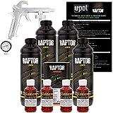 U-POL Raptor Blood Red Urethane Spray-On Truck Bed Liner Kit w/ FREE Custom Shop Spray Gun with Regulator, 4 Liters