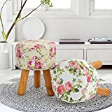 Footstool FurnitureR Garden Design Ottoman Round Footstool Foot Rest With with Soft Floral Fabric Cushion Wooden Legs Pink