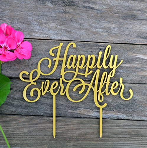 HappyPlywood Cake Topper Happily Ever After Wedding Cake Toppers for Wedding Cake Decorations (Width 6