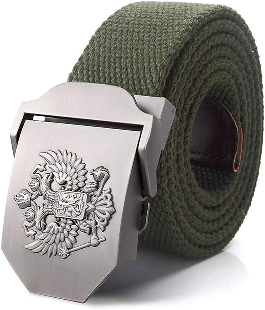 JUIHUGN Canvas Belt Russian National Emblem Alloy Buckle Military Men Belt Army Tactical Belts for Men Best Male Strap Green 150cm